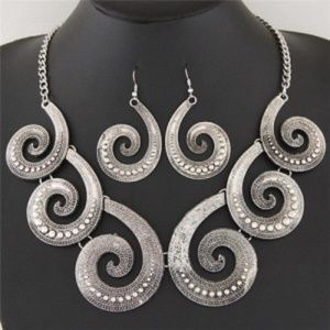 Vintage Style Peacock  Necklace and Earrings Set -